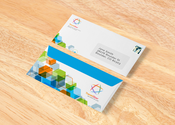 Two envelopes on wood background